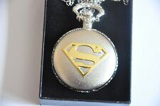 Gold Emblem Vintage Superman Pocket Watch Antique Chain Pendant Necklace Gift