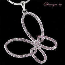 WHITE GOLD PLATED PURPLE BUTTERFLY NECKLACE w/ SWAROVSKI CRYSTAL L213