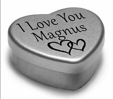 I Love You Magnus Mini Heart Tin Gift For I Heart Magnus With Chocolates
