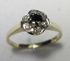 Vintage 9ct Gold & Diamond & Sapphire Daisy Ring Size L