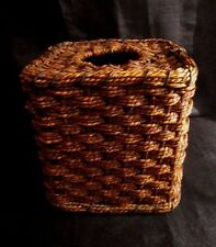 TISSUE BOX COVER - Twisted Straw and Wood w/Pretty Basket Weave, Caramel Color