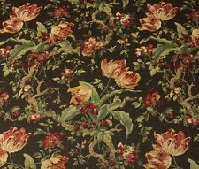 BRAEMORE OPULENCE PALOMINO DARK BROWN LARGE FLORAL UPHOLSTERY FABRIC BY THE YARD