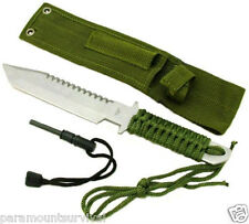 "11"" Full Length Survival Hunting Knife 440 Steel with Steel Flint Fire Striker"