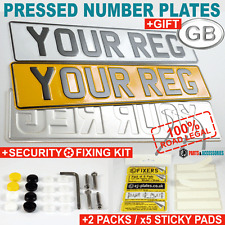 SET OF 2 OBLONG PRESSED METAL EMBOSSED CAR REG NUMBER PLATES 100% UK Road Legal