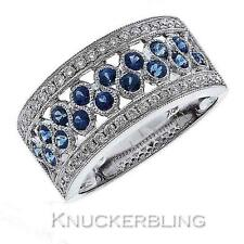 1.20ct Blue Sapphire F VS Diamond & 18ct White Gold Half Eternity / Wedding Ring