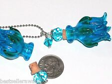 Glass Aqua Blue Rose Lampwork Flower oil perfume urn Bottle pendant w/ Necklace