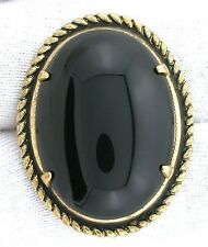 Black Onyx Oval Gemstone Gem Cab Cabochon Gem Gold Plated Pin Brooch EBS5821