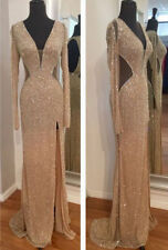 Hot Long Sequins Mermaid Split Evening Pageant Dress Formal Prom Party Dresses
