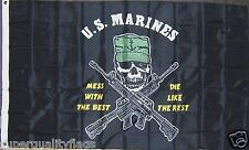 USMC MESS WITH THE BEST DIE LIKE THE REST US MARINES MILITARY NEW 3X5 ft FLAG au