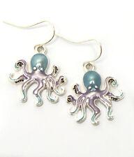 OCTOPUS Blue Purple Silver Octopus Ocean Beach  Sea Life Pierced Wire Earrings