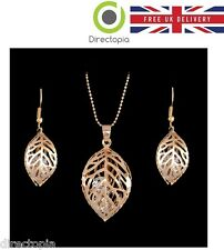 Gold Austrian Crystal Necklace &  Earring Set Leaf Design Gift Set Wedding Ball