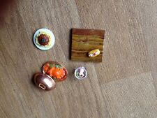 dolls house furniture kitchen food Plate Food With Lid, Chop Board, Cake, Food
