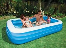 Swiming Family Pool Center Inflatable Big Three Ring Intex Blue Rectangle Swim