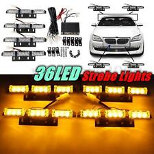 4x9 LED 36 Amber Yellow Emergency Warning Strobe Grille Flashing Light Lamp Bar