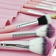 12pcs LEGNO MAKE UP PENNELLI KIT PROFESSIONAL Cosmetic Makeup Brush Set Rosa # 306u