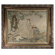 "Fine Antique Petitpoint Needlepoint Tapestry in Frame, 27"" x 23"", Diana & Hounds"