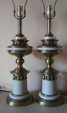 PAIR mid century HOLLYWOOD REGENCY stiffel BRASS table lamps 1960s