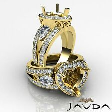 3Stone Halo Pave Diamond Engagement Ring 18k Yellow Gold Heart Semi Mount 1.5Ct