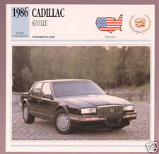 1986 Cadillac Seville Car Photo Spec Sheet Info Stat French Atlas Card