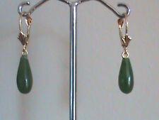 14 kt Gold Leverback Earrings Fine Taiwan Green Jade Drop Earrings All 14kt Gold