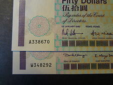 HONG KONG 1993 & 1999 CHARTERED BANK  $ 50, 2 NOTES, CRISP CHOICE UNC !