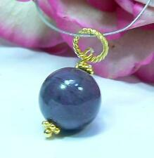 NATURAL 10mm PURPLE SUGILITE VERMEIL 22k GOLD OVER STERLING SILVER PENDANT BEAD