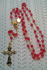 PINK BEGONIA CRYSTAL ROSARY -18K GOLD PLATED MADE IN THE CZECH REPUBLIC