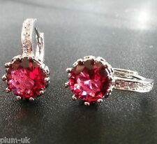 C15 Plum UK silver (white gold gf) French hoop sim diamonds+round red tourmaline