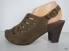 DANSKO 38 8 Brown Rowena Nubuck Leather Slingback Cut Out Platform Heels PUG VLV