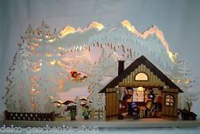 large Light Arch 3 D with 5 Figures Ski hut Erzgebirge new 10639