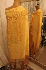 Gold metallic piano shawl wrap tassled scarf -  Ditsy Vintage Vamp 30s style