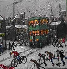 THE GREEN BUS  : Original BEST Oil Painting  Famous Artist James Downie