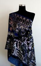 GORGEOUS FLOWERS DECORATED BURNOUT SILK VELVET SHAWL