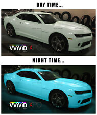 Glow in the dark blue green car wrap vinyl 2ft x 5ft VViViD XPO air free decal