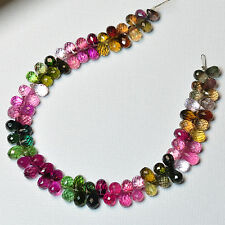 68.75CT Old Mine Brazil Tourmaline Faceted Full Teardrop Beads 7.5 inch strand