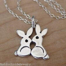 Tiny Bunnies Charm Necklace - 925 Sterling Silver - Kiss Rabbit Bunny Easter NEW