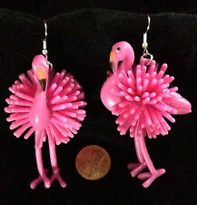HUGE Funky PINK FLAMINGO EARRINGS Tropical Bird Luau Beach Party Costume Jewelry