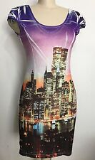 Candy Couture Bodycon Strechable New York View Women Short Sleeve Dress Size L