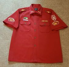 Men's Red Ape Short Sleeve Button Stitched Dress Shirt Spellout Hip-hop XL Large
