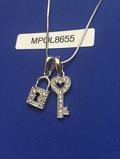 Christmas Gift Heart Lock and Key Crystal Pendant Necklace