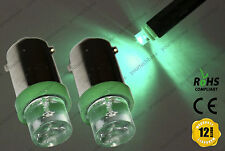 2x Ba9s T4W LED Bulbs Xenon Green Interior Dashboard Overhead Lights Lamps 12v