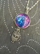 Galactic Universe Magic Crescent Moon Necklace Nebula Star Wicca Pendant Aurora
