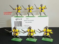 BRITAINS 08411 6 YELLOW/GREY FOOT KNIGHTS METAL TOY SOLDIER FIGURES + TRADE BOX
