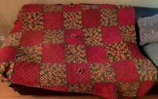 VINTAGE HANDMADE CROCHET GRANNY SQUARE AFGHAN THROW BLANKET RUSTIC RED W/FLOWERS