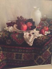 Russian Signed Oil on Canvas - Still Life Signed Markings on Back Silver Frame