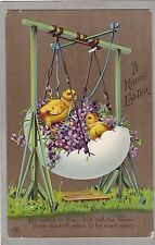 Vintage Easter Greetings PC - EAS Schwerdtfeger - Chicks On Egg Shaped Swing