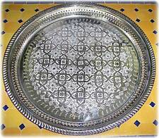 Moroccan Tea Tray Serving Cocktail Silver Handmade Fez Large Round High Quality
