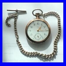 WW1 Stunning Silver & Gold Omega Keyless Pocket Watch & Albert Chain 1914
