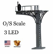 O S Scale Model Diecast Metal Overhead / Bridge Levered Signal - w/ 3 LED lights