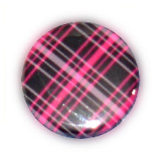 Badge ECOSSAIS tartan Pink rock rockabilly punk kustom ska goth emo pins Ø25mm